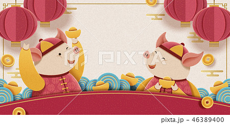 Lunar year piggy design 46389400