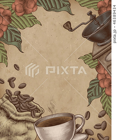 Coffee woodcut poster 46389434