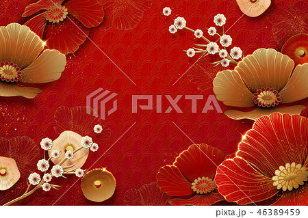 Flowers on red background 46389459