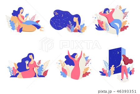 Feminine concept illustration, beautiful women, different situations. Characters decorated with 46393351
