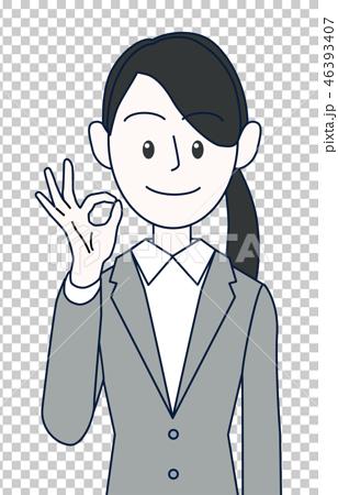 OKサインをする若い女性ビジネスマン上半身 46393407