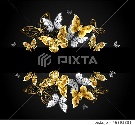 Design with gold and white butterflies 46393881