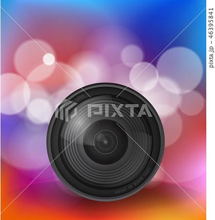 Camera lens over bokeh background 46395841