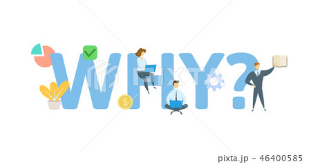 WHY Concept with keywords, letters, and icons. Flat vector illustration. Isolated on white 46400585