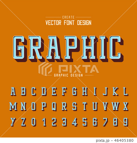 3D font and alphabet vector, Shadow typeface 46405380