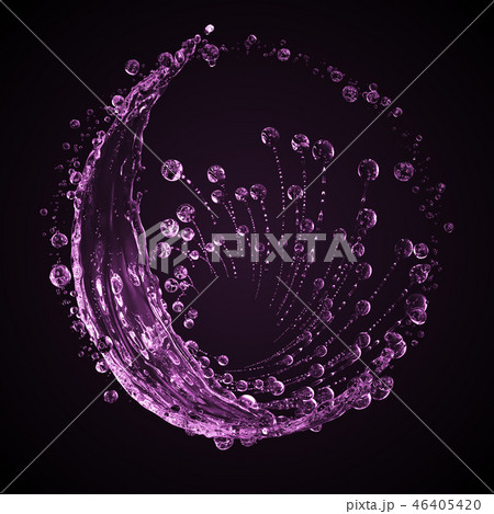 3D detailed illustration of a drop of water pink color. 46405420