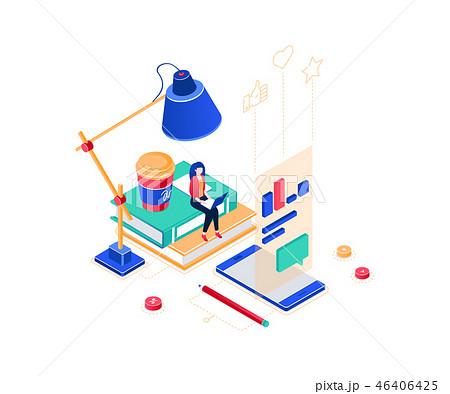 Freelance worker - modern colorful isometric vector illustration 46406425