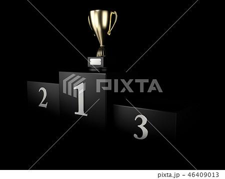 Black winners podium. Pedestal. isolated on black 3d illustration. 46409013