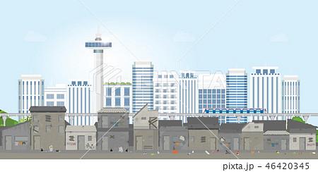 Landscape of slum city or old town slum on urban . 46420345