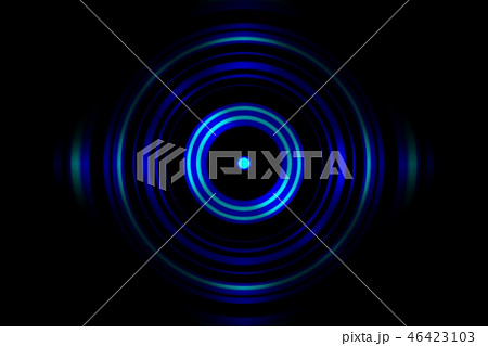 Sound waves oscillating blue light with circle 46423103