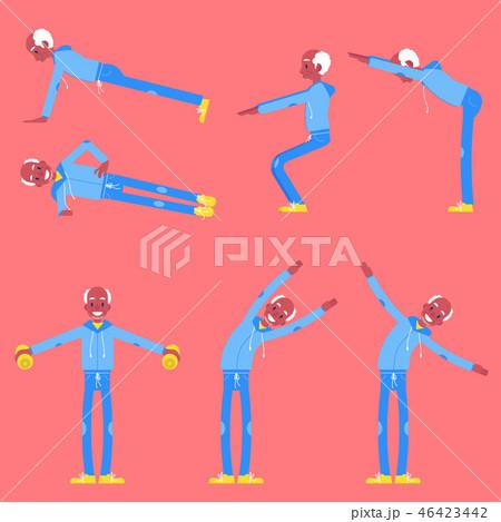 Vector illustration set of senior man doing sport exercises in flat style. 46423442
