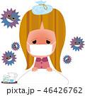 インフルエンザ 女性 高熱のイラスト 46426762
