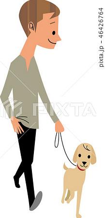 犬と散歩する男性 46426764