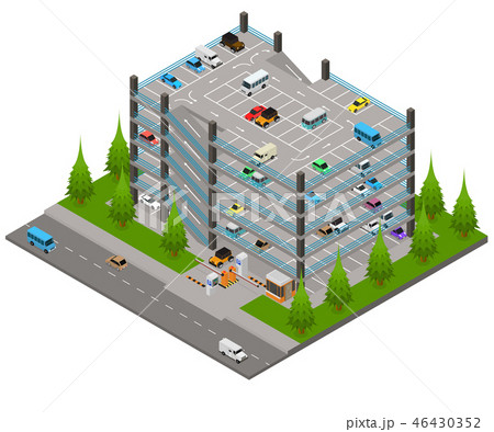 Multi Storey Car Park Concept 3d Isometric View. Vector 46430352