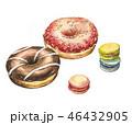 水彩画 お菓子 ドーナツのイラスト 46432905