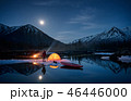 View of camp life in a mountain terrain. Lake shore with canoe 46446000