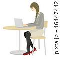 パソコン ノートパソコン 女性のイラスト 46447442