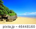 小浜島 ビーチ 青空の写真 46448160