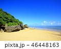 小浜島 ビーチ 青空の写真 46448163
