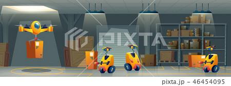 Postal service robotized warehouse cartoon vector 46454095