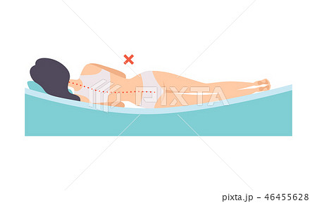 Woman lying on her side, incorrect sleeping posture for neck and spine, unhealthy sleeping position 46455628