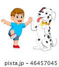 わんこ 犬 遊ぶのイラスト 46457045