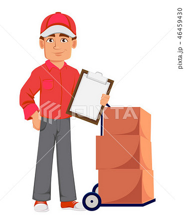 Courier man in red uniform. Handsome delivery man 46459430