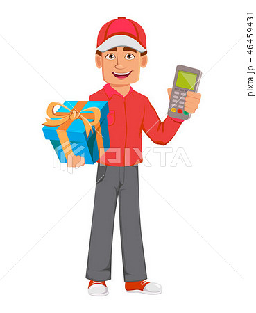 Courier man in red uniform. Handsome delivery man 46459431