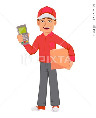 Courier man in red uniform. Handsome delivery man 46459434