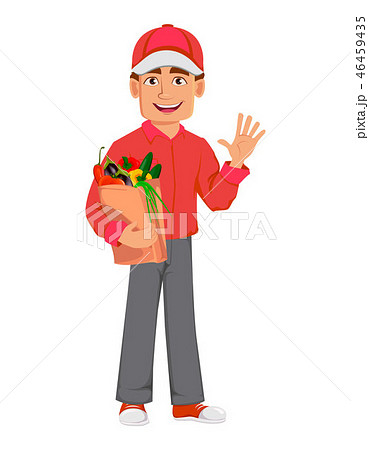 Courier man in red uniform. Handsome delivery man 46459435