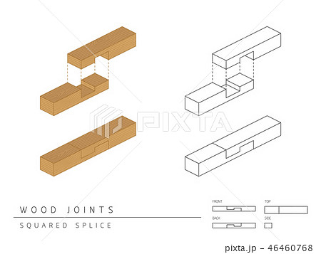 Type of wood joint set Squared Splice style, 3d 46460768