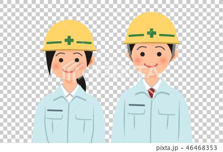 ヘルメットと作業着姿の男女 46468353