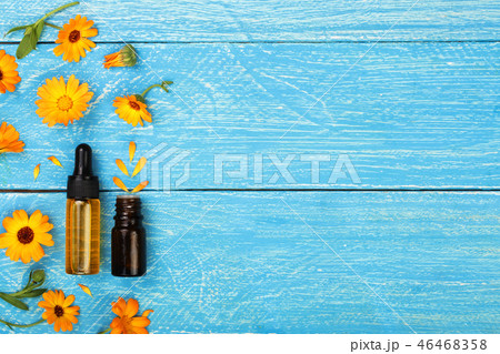 aromatherapy essential oil with marigold flowers on blue background with copy space for your text 46468358