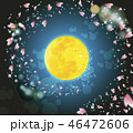 夜桜 春 月のイラスト 46472606