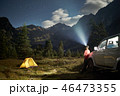 Camping with a car, yellow tent at moon night, man with headlight at mountains 46473355