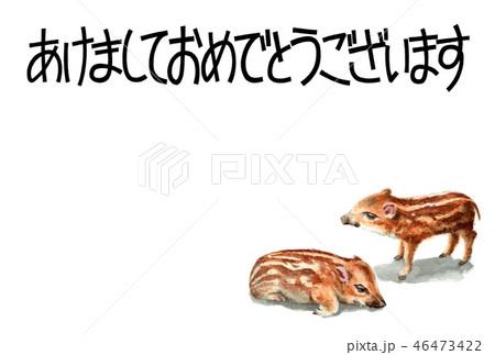 ウリ坊の賀詞入り年賀ハガキ素材 46473422
