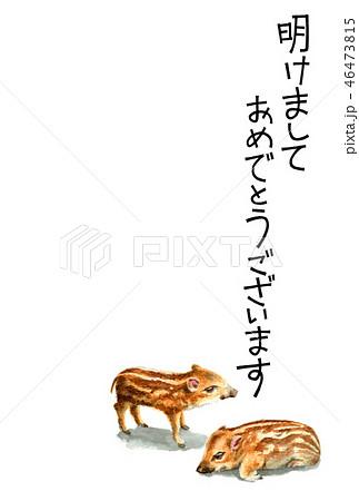 ウリ坊の賀詞入り年賀ハガキ素材 46473815