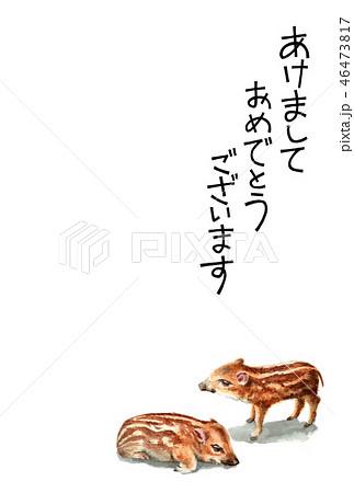 ウリ坊の賀詞入り年賀ハガキ素材 46473817