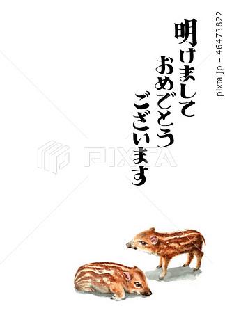 ウリ坊の賀詞入り年賀ハガキ素材 46473822