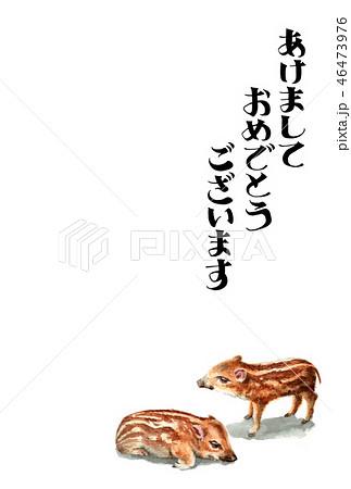 ウリ坊の賀詞入り年賀ハガキ素材 46473976