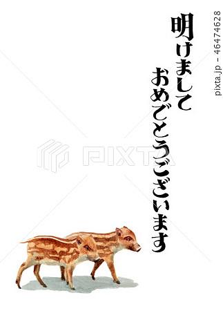 ウリ坊の賀詞入り年賀ハガキ素材 46474628