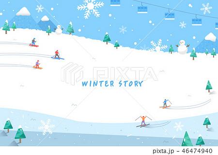 スキー場 ケーブルカー ロープウェイのイラスト素材 46474940 Pixta