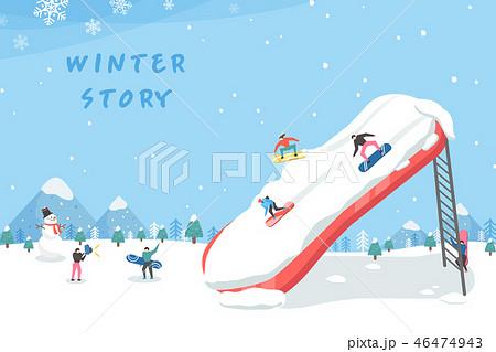 スキー場 雪だるま 雪のイラスト素材 46474943 Pixta
