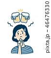 女性 悩む ビールのイラスト 46476330