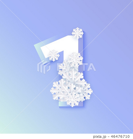 Vector winter one 1 number with snowflakes, ice 46476710