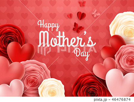 Happy Mother's Day with rose and hearts background 46476874