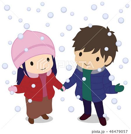 可愛い恋人たち 雪を見上げる ダウンのイラスト素材 46479057 Pixta