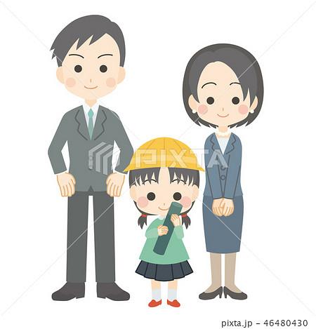 幼稚園の女の子の卒園式親子のイラスト素材 46480430 Pixta