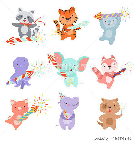 Cute animal characters with party poppers set, design template can be used for New Year or Christmas 46484340