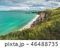 Northern Ireland shoreline. Clear sea, green land. 46488735